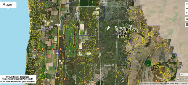 Screen capture of the Myalup Superficial Aquifer interactive map