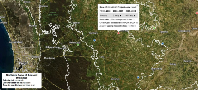Screen capture of the south-west groundwater and salinity interactive map