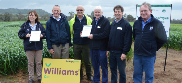 Oat team after presentation of certificates by the DG for Agriculture Rob Delane to celebrate the release of Williams.  Pamela Zwer, John Sydenham, Joe Naughton, Max Karopolous and Peter McCormack.