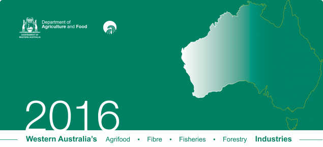 Cover of booklet with map of Australia with Western Australia highlighted as well as a range of images of WA's agrifood, fibre forestry and fisheries industries