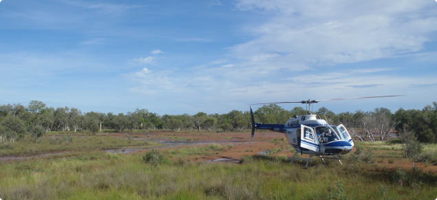 Water quality sampling by helicopter Bonanaprte Plains 2013