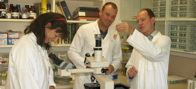 Brown Besier, Jill Lyon and Darren Michael from the DAFWA team producing the Barber's Pole vaccine in the laboratory