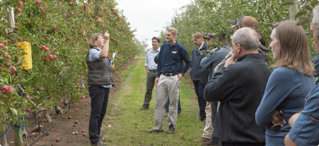 Development 0fficer Susie Murphy-White presenting points of interest to producers during an orchard walk in Manjimup