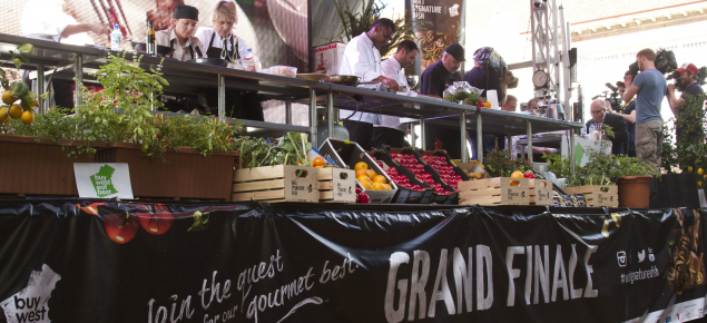 Four finalists prepared dishes on the stage at the Perth Cultural Centre in the competition