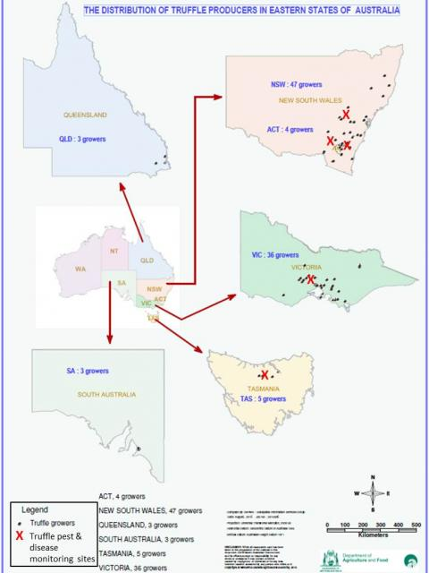 Location of truffle orchards in eastern Australia and truffle pest and disease monitoring sites
