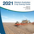 Cover page of the 2021 WA Crop Sowing Guide, with image of seeding lupins into wheat stubble at Eradu