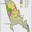 Broad scale map (1:250 000) of the Mullewa to Morawa Agzone showing the distribution of shallow sandy duplexes. Distribution is scattered from Mullewa to Wubin, with Wubin region having 10–25% and 3–10% shallow sandy duplexes.