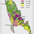 Broad scale map (1:250 000) of the Mullewa to Morawa Agzone showing the distribution of deep loamy duplexes and earths. The majority of the Agzone has 10–25% deep loam duplexes and earths. There are areas with 3–10% near Mullewa and from Wubin to Morawa.