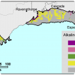 Broadscale map (1:250 000) of the Albany to Esperance Agzone showing the distribution of alkaline shallow duplexes. The majority of the region shows alkaline shallow duplexes occupying 0–3% for both the Albany and Esperance region.