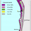 Broad scale map (1:250 000) of the Swan coastal plain Agzone showing the distribution of coloured sands. The high distribution of 50–100% is shown along the coastline from Lancelin to Margaret River.