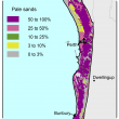 Broad scale map (1:250 000) of the Swan coastal plain Agzone showing the distribution of pale deep sands. There is heavy distribution between 50%–100% inland from Lancelin to Perth, then along the coast from Perth to Dunborough.