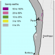 Broad scale map (1:250 000) of the Swan coastal plain Agzone showing the distribution of sandy earths. Distribution mainly 0–3% except in the Margaret river region where there is scattered distribution of mainly 3–10% with patches of 50–100% and 10–25%.