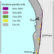 Broad scale map (1:250 000) of the Swan coastal plain Agzone showing the distribution of ironstone gravel soils. Distribution is scattered along the Darling scarp from Perth down to Margaret river with 50–100% ironstone gravelly soils.