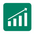 icon with bar graph increasin from left to right with an arrow showing and increase