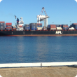 Image of container ship being loaded at Fremantle Port