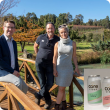 DPIRD Director Liam O'Connell with John Della Franca and Emily Lyons at Core Cider House