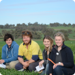 A picture of the wheat agronomy project team in a paddock