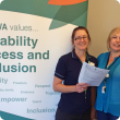 Disability Access and Inclusion Plan (DAIP) Working Group member Linda Ford and Organisational Development and Training Unit Manager Lisa Sherriff encourage DAFWA clients, community members and staff to comment on the new plan