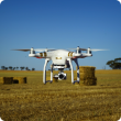 Drone in hay paddock