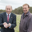 Agriculture and Food Minister Ken Baston and Williams farmer Lester Fawcett collecting Copris hispanus that will be relocated to Badgingarra and Geraldton to tackle bush fly numbers there.