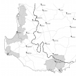 Map showing a number of catchments in south-west Western Australia