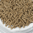 Cattle feed pellets in a bag