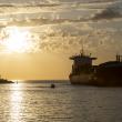 Cargo ship leaving Fremantle port