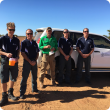 From left: Working together to fight Medfly is DPIRD fisheries officers Kieren Timmer, Scott O'Loughlin, Matt Clarke and Dean Clarke with Carnarvon Growers Association Recognised Biosecurity Group Executive Officer Ian Foxley (centre)