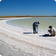 Natural salt lake evaporation basin near Wongan Hills, Western Australia showing crystalline salt