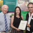 Photo caption: Young Professionals in Agriculture Forum first prize Kimberley Adams with Bruce Robinson (left), immediate past president of the Western Australian Division of Ag Institute Australia and Dr Mark Sweetingham (right) Department of Agriculture