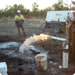 A new bore is pump tested to obtain information on aquifer characteristics and its groundwater flow rate.