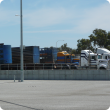 Livestock trucks at saleyards