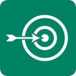 A target with an arrow in the bulls eye.