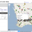 WeedWatcher application: screenshot showing google maps and pin position with ballon of information including id, date, area, density and confidence on where a weed has been sighted and extra information