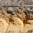 Soil cross section showing the deep ripping disturbance to 500mm