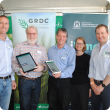 At the iLime app launch at Dowerin GWN7 Machinery Field Days are (l-r) GRDC acting senior regional manager – west Peter Bird, DPIRD senior research officer Chris Gazey, Dr James Fisher of Desiree Futures, Premier's Midcareer Fellow Dr Fiona Evans and GRDC