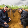 Kalannie grower Bob Nixon with the Department of Primary Industries and Regional Development's researcher Gaus Azam discussing the effect of applying both lime and gypsum to acidic soils.