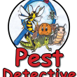 Words 'Pest Detective' and hand drawn illustration of cute looking insects within a magnifying glass.
