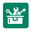 graphic image of toolbox with tools